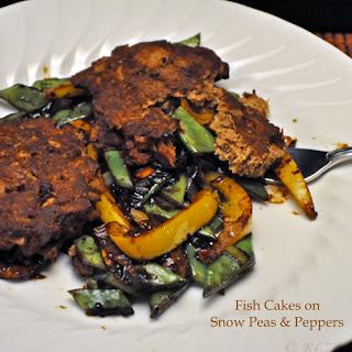 Fish Cakes on Peapods and Peppers