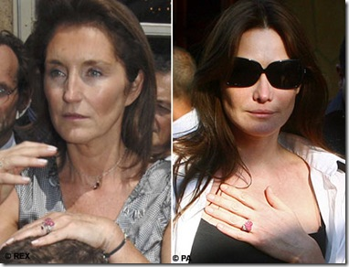 French President Nicolas Sarkozy has given same diamond ring to Cecilia and Carla Brun