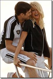 Paris Hilton with Ashton Kutcher Fila ads photoshoot