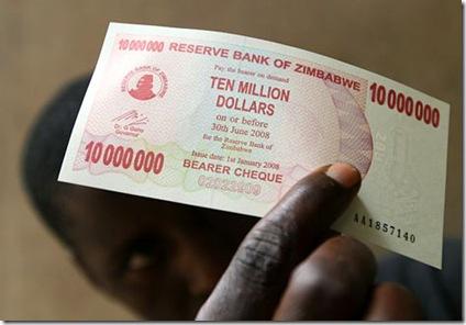 Zimbabwe 10million note