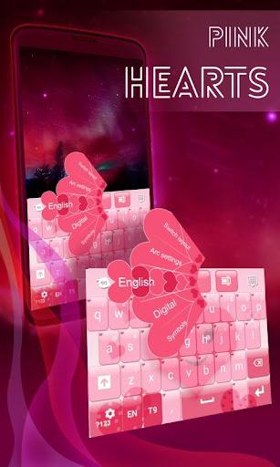 粉紅色的心的鍵盤