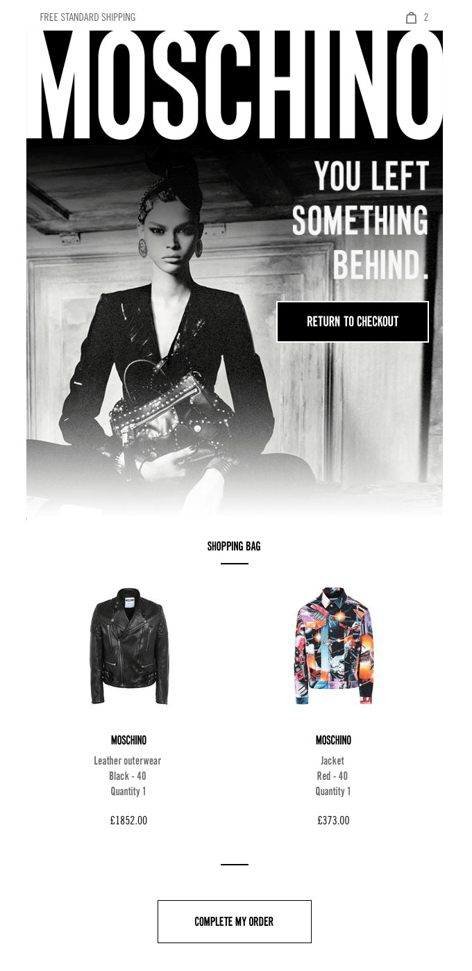 Example of Moschino email.