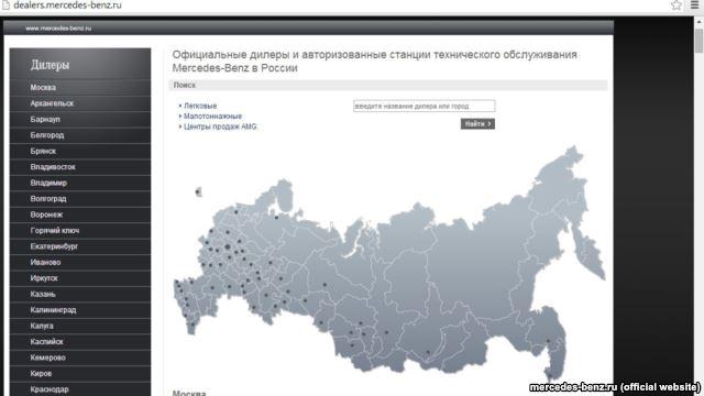 Официальные дилеры и авторизованные станции технического обслуживания Mercedes-Benz в России