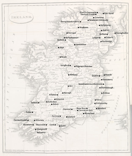 Itinerary for Wordsworth's tour in Ireland, 1829