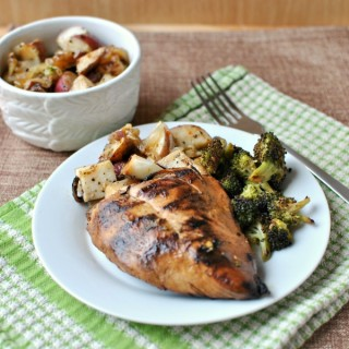 Tangy Marinated Grilled Chicken & Foil Packet New Potatoes with Broccoli.