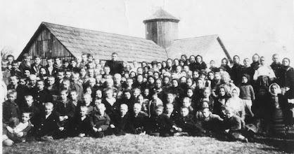 Photo: Церква у  бараці  (прощання  з отцем  Бойківим  перед  виїздом  до  Америки), 1936  рік