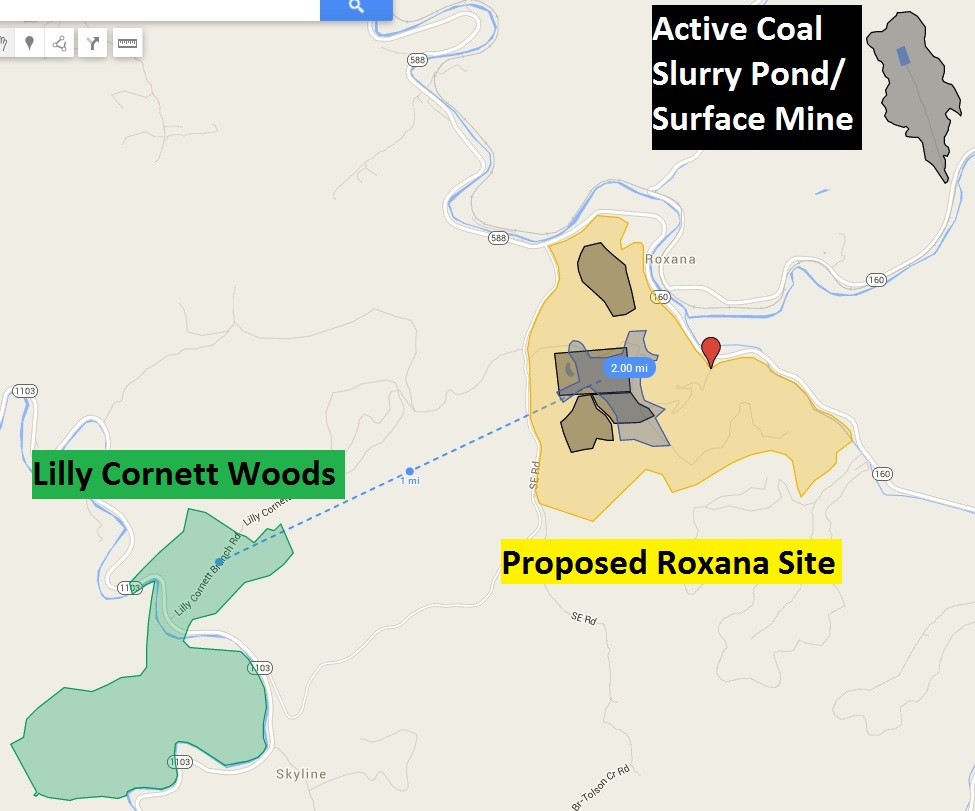 Coal slurry and Lilley Cornett proximity to proposed prison