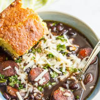 Slow Cooker Black Bean Chorizo Soup.