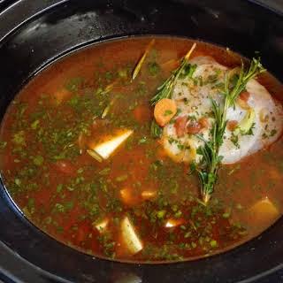 Easy Slow Cooker Turkey Leg Stew.