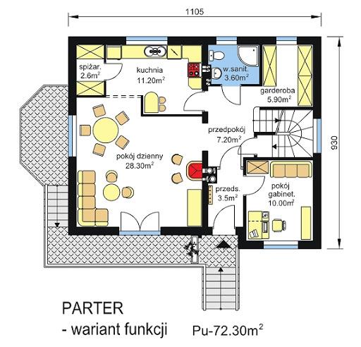 BW-19 podpiwniczony - Rzut parteru - propozycja adaptacji - zmiana wielkości pomieszczeń
