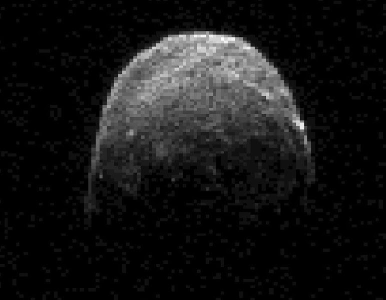 Photo: Asteroid 2005 YU55 passed by the Earth yesterday, posing no danger. The space rock, estimated to be about 400 meters across, coasted by just inside the orbit of Earth's Moon. Although the passing of smaller rocks near the Earth is not very unusual -- in fact small rocks from space strike Earth daily -- a rock this large hasn't passed this close since 1976. Were YU55 to have struck land, it might have caused a magnitude seven earthquake and left a city-sized crater. A perhaps larger danger would have occurred were YU55 to have struck the ocean and raised a large tsunami. The above radar image was taken two days ago by the Deep Space Network radio telescope in Goldstone, California, USA. YU55 was discovered only in 2005, indicating that other potentially hazardous asteroids might lurk in our Solar System currently undetected. Objects like YU55 are hard to detect because they are so faint and move so fast. However, humanity's ability to scan the sky to detect, catalog, and analyze such objects has increased notably in recent years.