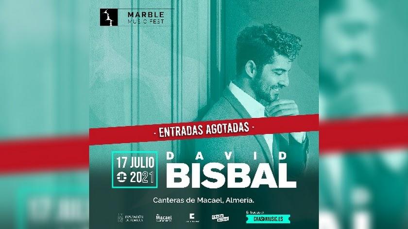 Cartel de entradas agotadas para el concierto de Bisbal en Macael.