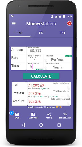 Loan Calculator-EMI, RD & FD Calculator screenshot 1