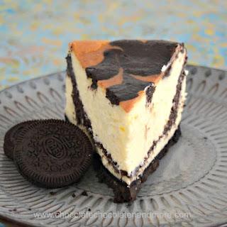 Oreo Swirled Cheesecake.
