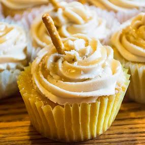 Salted Caramel Cupcake by Nicole Mitchell - Food & Drink Cooking & Baking ( sweet, cupcake, frosting, pretzal, caramel, salt )