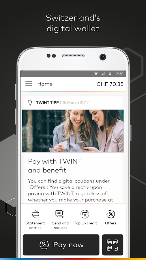 Prepaid TWINT & other banks- screenshot