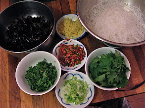 Photo: prepared ingredients for bean thread salad