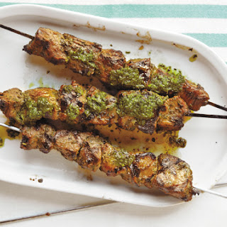 Goat Skewers with a Vinegary Herb Sauce