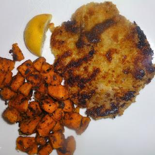 Healthy Veal Schnitzels with Sautéed Garam Masala Sweet Potatoes.