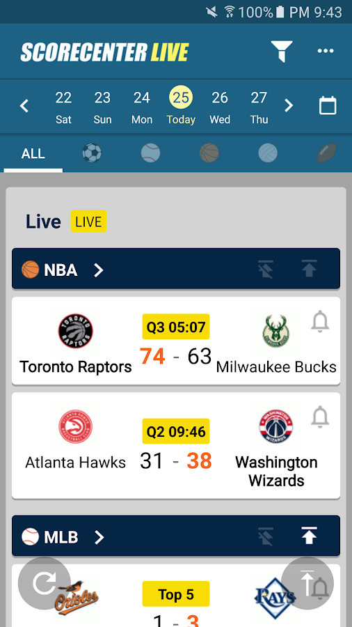 ScoreCenter Live : All sports- screenshot