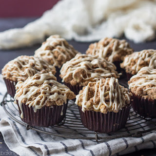 Banana Honey Yogurt Streusel Muffins with Brown Butter Glaze