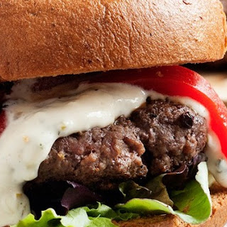 Mongolian Beef Burgers with Grilled Green Onion Mayonnaise.