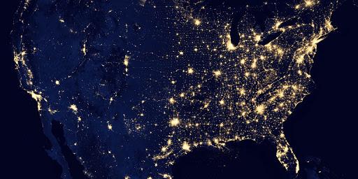 Us Map At Night Earth at Night