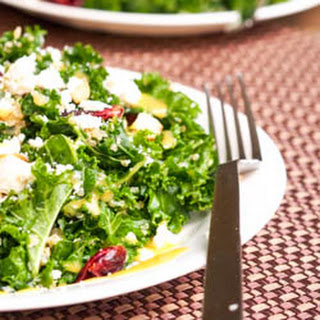 Massaged Kale Salad with Cranberries, Quinoa and Feta {Gluten-Free}