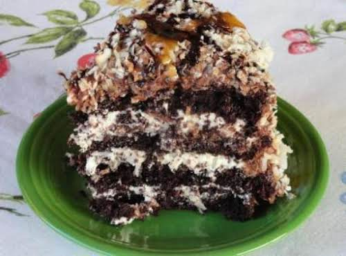 "Chocolate Caramel Coconut Cake ""I made this cake to share with co-workers who..."
