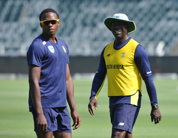 South Africa's strike bowler Kagiso Rabada and his head coach Ottis Gibson during the Proteas raining on March 29 2018 at Bidvest Wanderes Stadium.