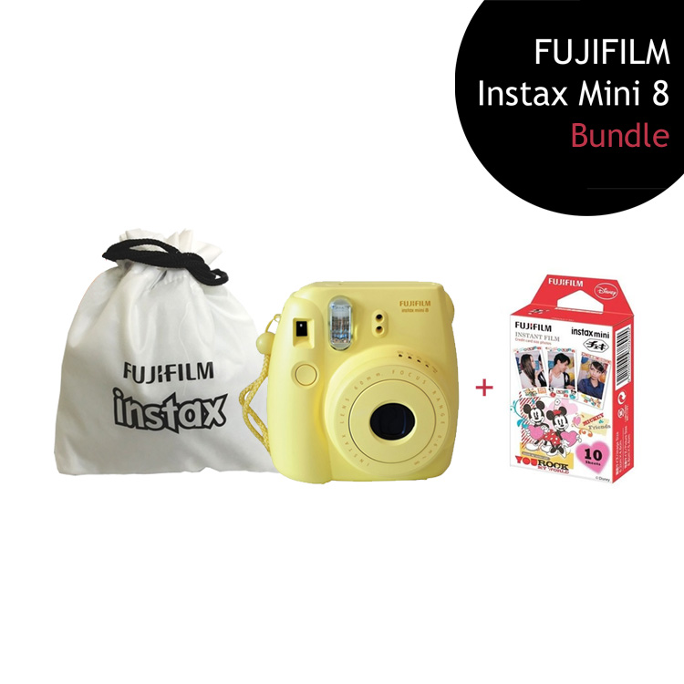 [Bundle] FUJIFILM Instax Mini 8 Camera (Yellow) + Mickey Mouse Film Pack + Instax Pouch by My Pocket Net Sdn Bhd