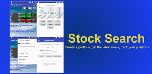 Real-time stock quotes, charts, top movers, gainers,losers, track positions,news