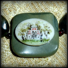 Photo: <BEREHYNYA> {Great Goddess Protectress} unique one-of-a-kind statement jewellery by Luba Bilash ART & ADORNMENT  # 54 FAITH - ВІРА - hand-painted ceramic pendant, jasper, moss agate, red garnet, SS  $175/set