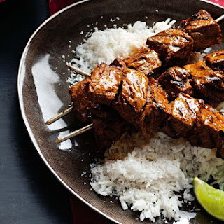 Tandoori Beef Skewers With Coconut Rice And Raita