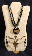 Photo: #143 HIDDEN WORLDS ~ ТАЄМНИЙ СВІТИ - jet druzy pendant, onyx, black jasper, silver plate $85/set SOLD