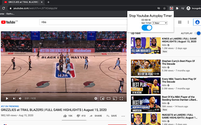 Stop Youtube Autoplay Timer