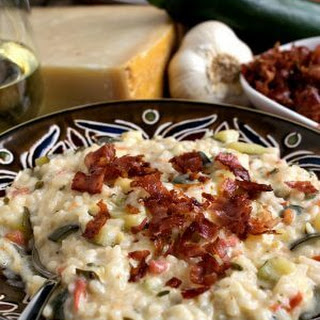 Zucchini Risotto with Goat Cheese and Prosciutto.