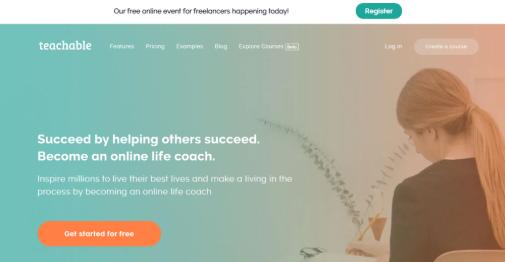 site Teachable, com oportunidades para trabalhar de casa