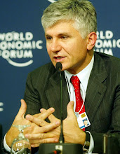 Photo: DAVOS,24JAN03 - Zoran Djindjic, Prime Minister, Republic of Serbia, speaks during the Press Conference at the 'Annual Meeting 2003' of the World Economic Forum in Davos/Switzerland, January 24, 2003. 