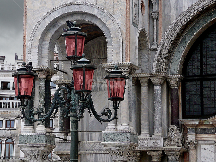 Street Lights by Tony Huffaker - City,  Street & Park  Historic Districts ( clouds, piazza san marcos, venice, italy, street lights,  )