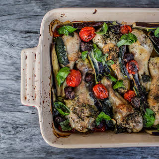 Mediterranean Baked Chicken with Eggplant, Zucchini, Tomato, Olives & Basil.