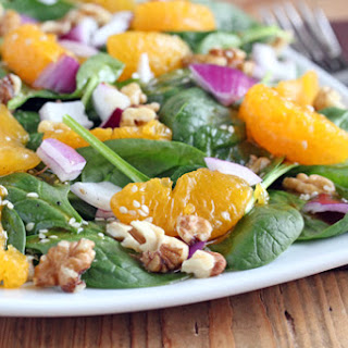 Asian Spinach Salad with Soy-Sesame Vinaigrette.