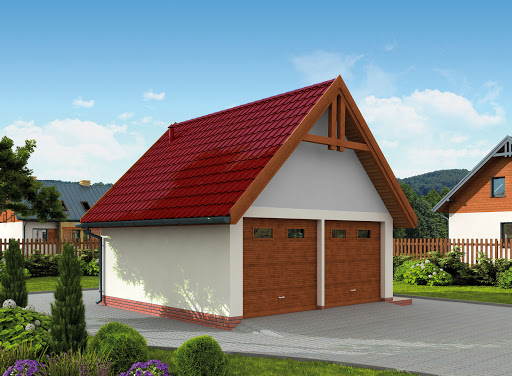projekt G325 szkielet drewniany garaż dwustanowiskowy