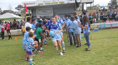 Narrabri Blues first grade skipper Sean Russ leads his side out on Sunday against North Tamworth.