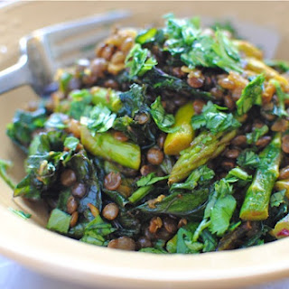 Indian Lentil Saute with Kale and Asparagus.