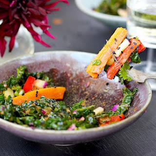 Kale Roasted Carrot Salad with Roasted Red Pepper Sesame Vinaigrette.