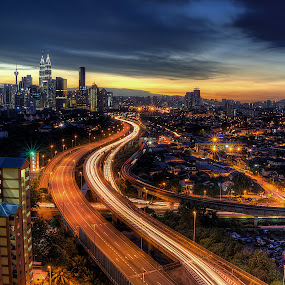 The Nightscape Of The City by Mohd Tarmudi - City,  Street & Park  Night ( kuala lumpur )