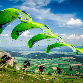 Paragliding on the Mountain by Zoltan Duray - Sports & Fitness Other Sports ( paragliding, mountain, sky, green, cloud, sport, summer, hohe wand, austria, garyfonglandscapes, holiday photo contest, photocontest,  )