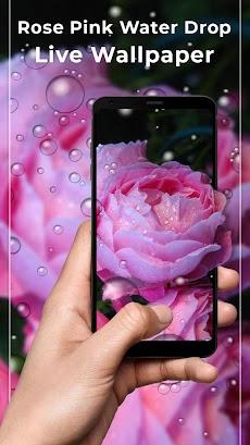 rose pink water drops free live wallpaper androidアプリ applion