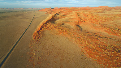 Photo: Another cool aerial shot in Sossusvlei. We were able to take a hot air balloon ride at sunrise over the desert and it was one of the coolest experiences ever. So many good views and pictures!